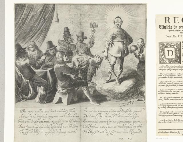 Satire met het schilderen van de Antichrist, ca. 1650