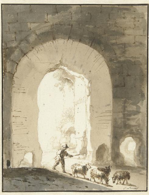 Schaapherder bij ruïne
