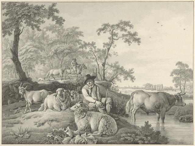 Schaapherder met schapen, een geit en een jonge stier in een landschap