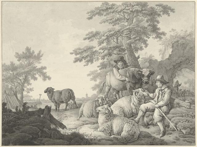 Schaapherder met schapen en een jongen met een jonge stier in een landschap