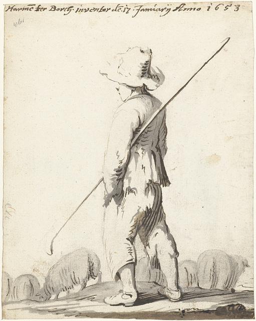 Schaapherder met zijn kudde, van achteren gezien