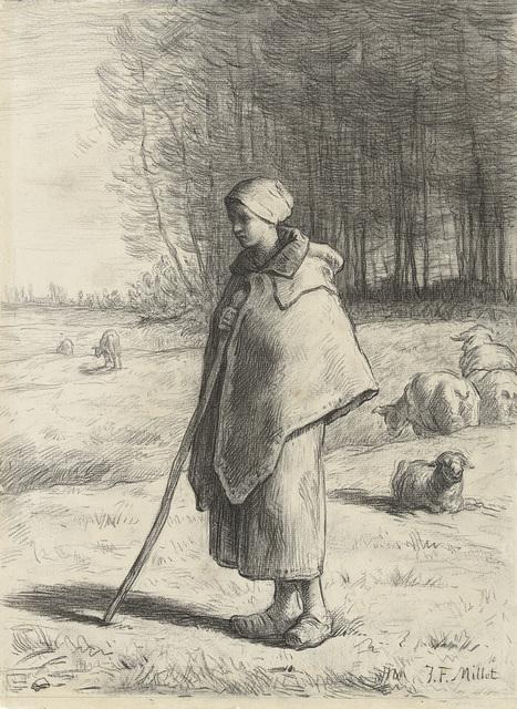 Schaapherderin, leunend op een stok