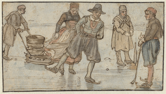 Schaatsers en kolvers op het ijs