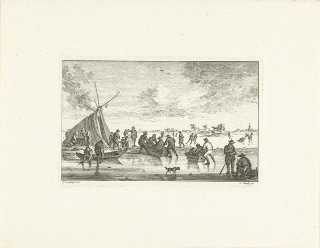 Schaatsers en sleeën op het ijs