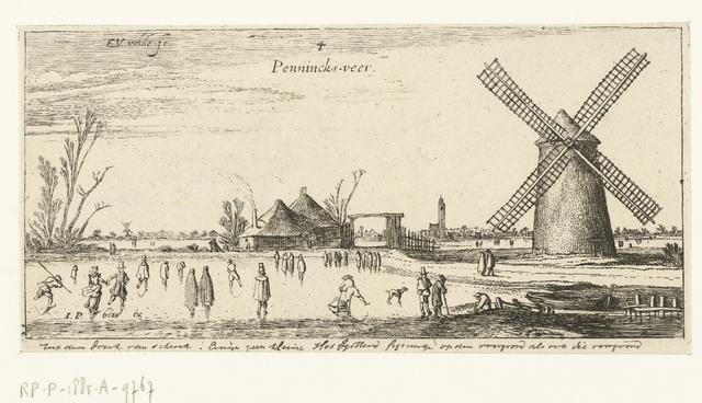 Schaatsers op het ijs bij een molen in de buurt van Penningsveer