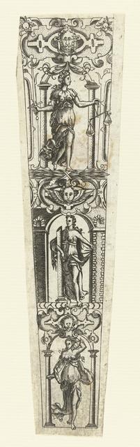 Schede met Temperantia, Fortitudo en Justitia