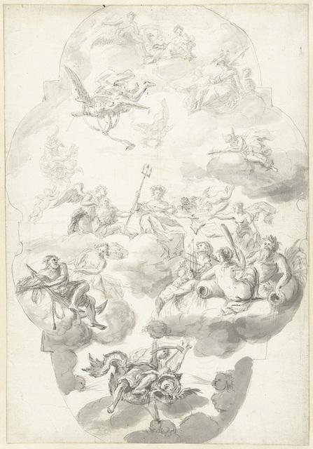 Schets voor een plafond met allegorische figuren