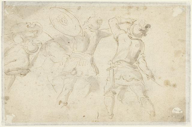 Schetsen van vechtende romeinse soldaten
