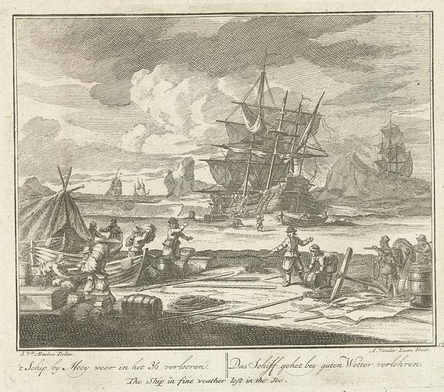 Schip raakt bij mooi weer vast in het ijs, ca. 1725