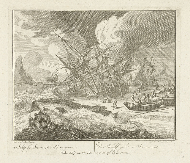 Schip vergaat in het ijs tijdens een storm, ca. 1725