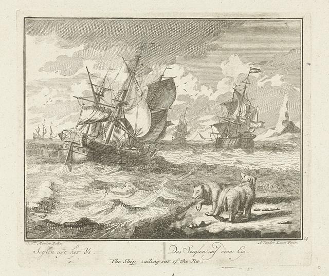 Schip zeilt weg uit het ijs, ca. 1725