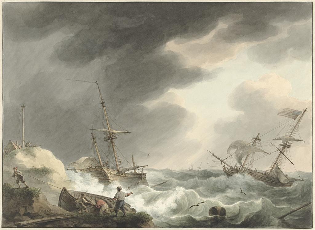 Schipbreuk van twee schepen, waarvan één onder Amerikaanse vlag, op een duinenkust