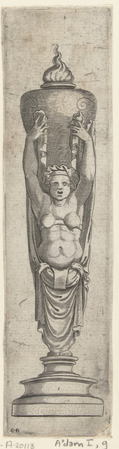Sculptuur, kariatide die op haar hoofd een brandende urn draagt