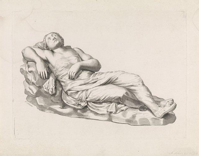 Sculptuur van een slapende vrouw