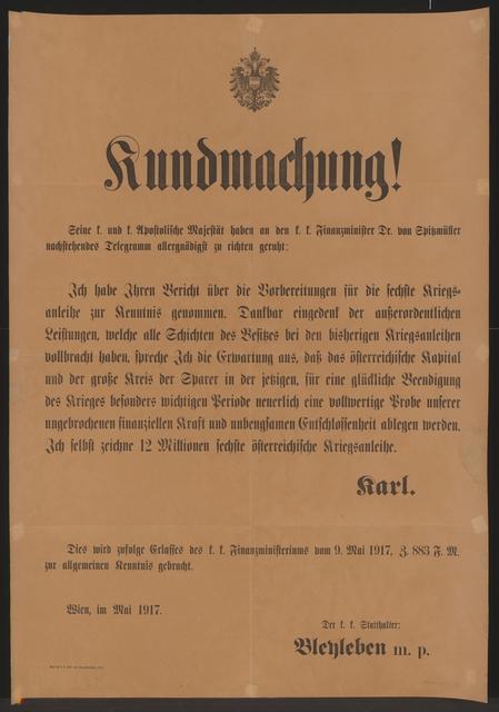 Sechste Kriegsanleihe - Kundmachung - Wien