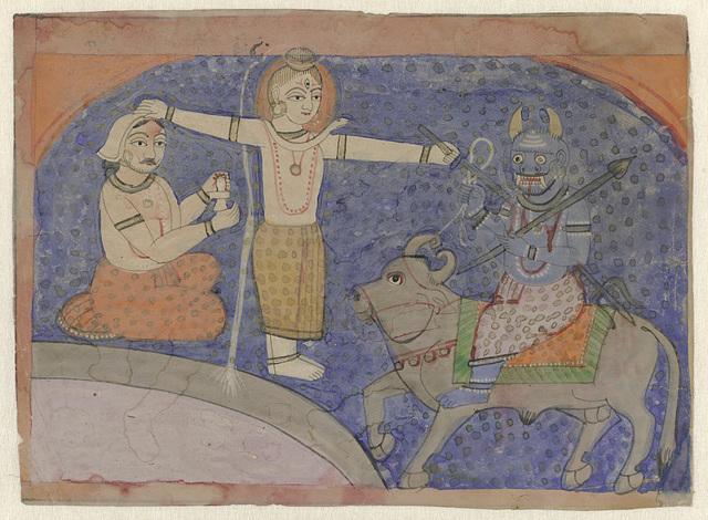 Shiva doodt Yama met zijn drietand