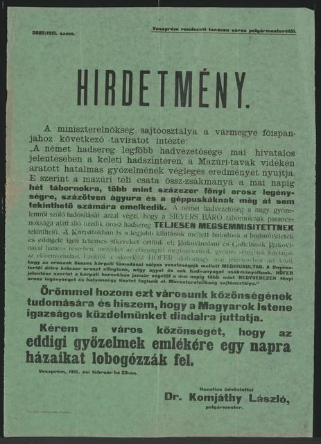 Sieg in Masuren - Kundmachung - Veszprém - In ungarischer Sprache