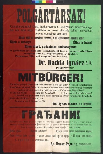 Sieges Te-Deum in der kath. Kirche - Bekanntmachung - Pancsova - Banstadt - Mehrsprachiges Plakat