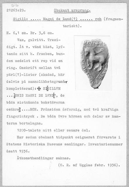 sigill (Sigill Magni de Lund (?)rch)