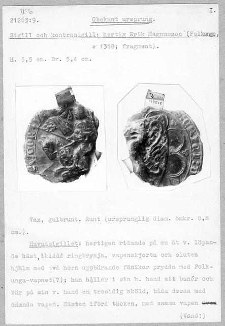 sigill (Sigill och kontrasigill: hertig Erik Magnusson)