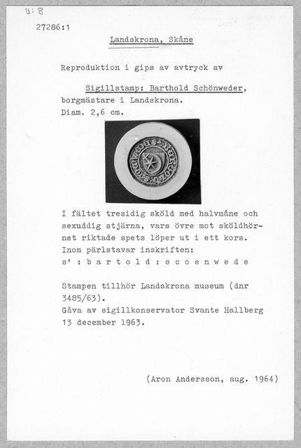 sigill (Sigillstamp: Barthold Schönweder)