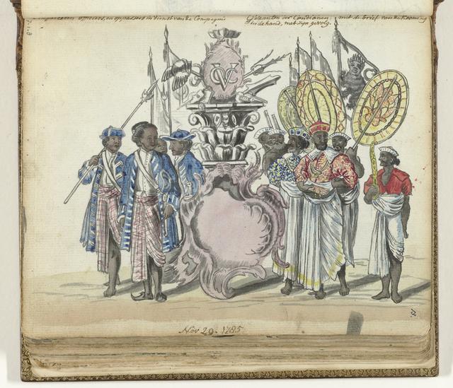 Singalese militairen in dienst van de VOC en gezanten van de koning van Kandy