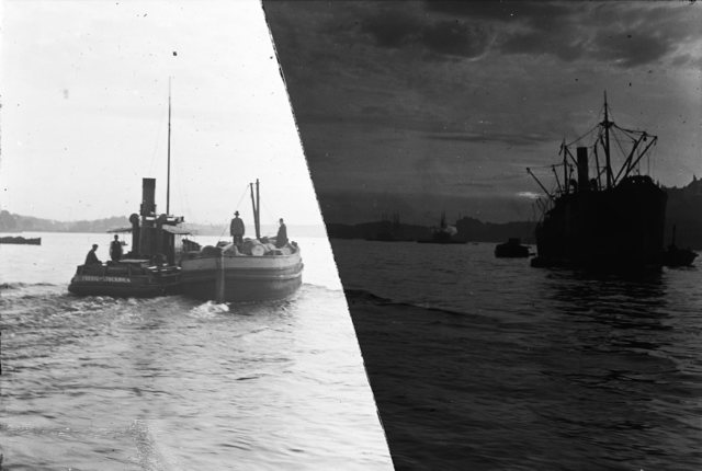 Photography, experiment: The picture on the ship split into two halves, one half weakened.