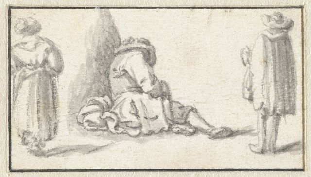 Slapende man, een staande vrouw en een staande man