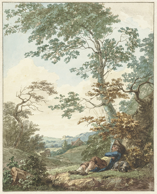 Slapende man met hond onder een boom