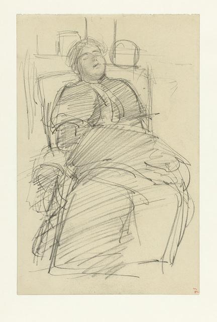 Slapende vrouw, in een stoel