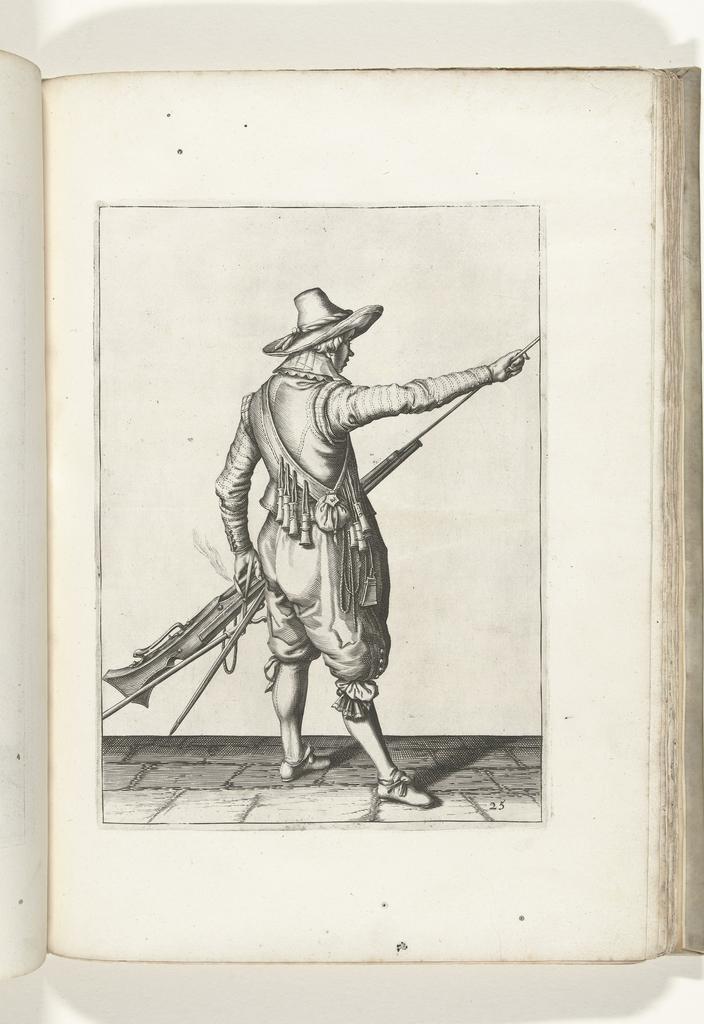 Soldaat die zijn laadstok uit de houder onder de loop van zijn musket haalt (nr. 25), ca. 1600
