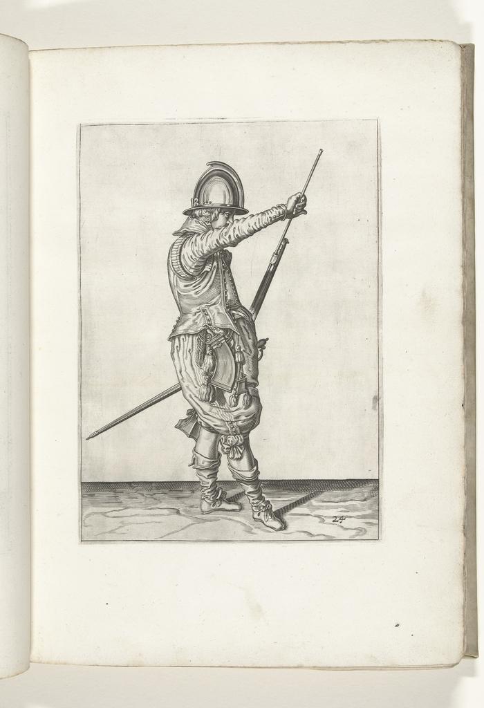 Soldaat die zijn laadstok uit de houder onder de loop van zijn roer haalt (nr. 24), ca. 1600