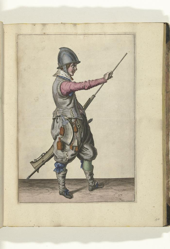 Soldaat die zijn laadstok uit de loop van zijn roer trekt (nr. 27), ca. 1600