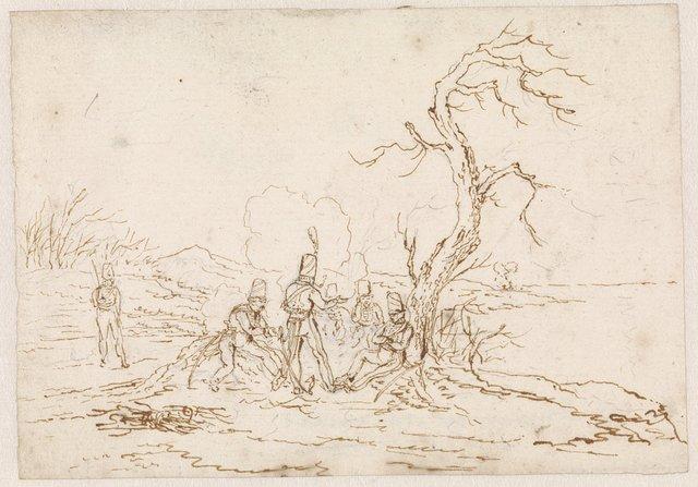 Soldaten rond kampvuur onder een kale boom