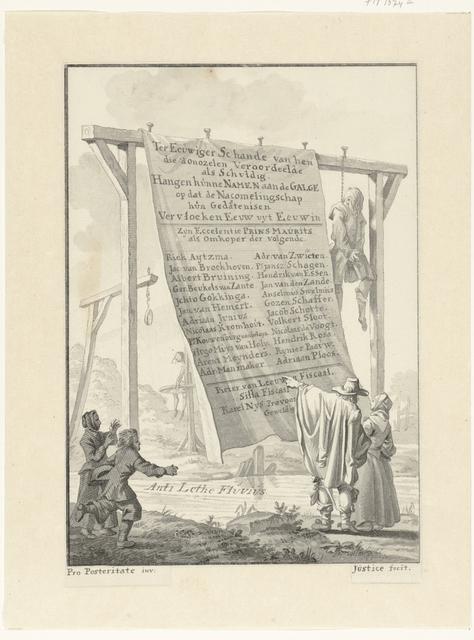 Spotprent op de 24 rechters die Johan van Oldenbarnevelt hebben veroordeeld, 1619