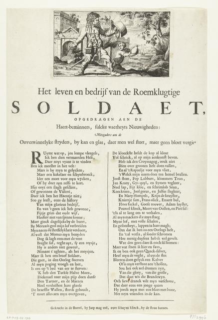 Spotprent op de drankzuchtige soldaat, ca. 1700