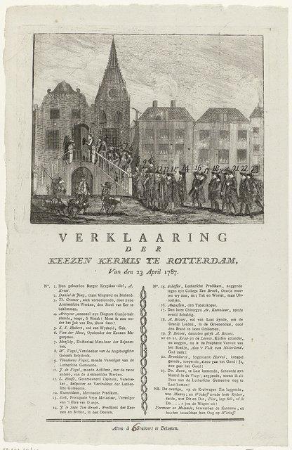 Spotprent op de patriotten die op het stadhuis van Rotterdam om de afzetting van enige raadsleden te eisen, 1787