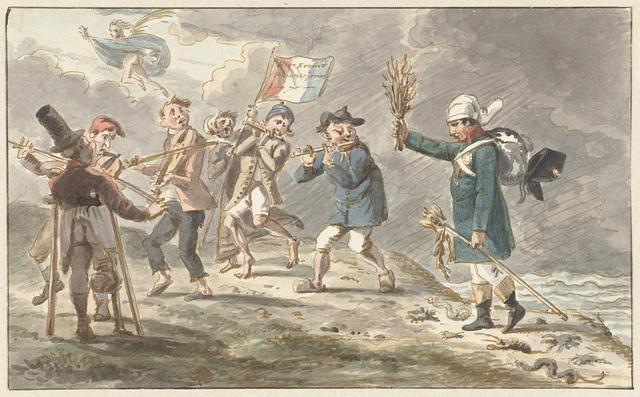 Spotprent op de terugtocht van Napoleon I Bonaparte uit Rusland