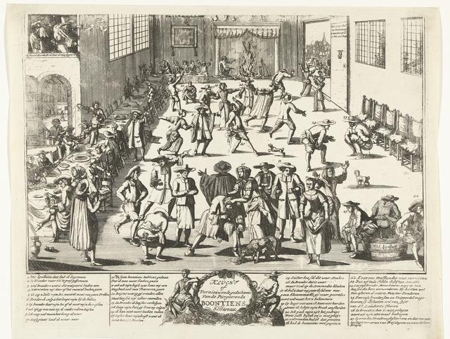 Spotprent op een Menniste Bruiloft, ca. 1700