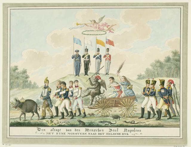 Spotprent op Napoleons verbanning naar Elba, 1814