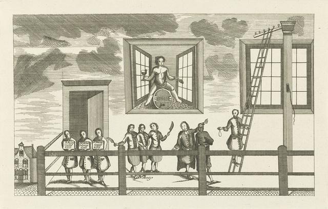 Spotprent waarin Daniel Raap naar de galg wordt geleid, 1752