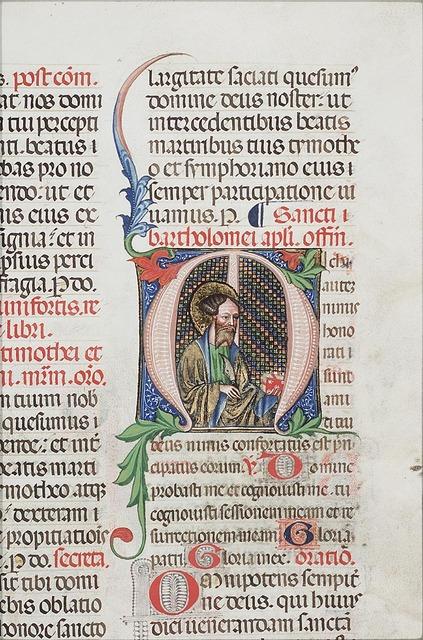 St. Bartholomew holding a knife and a book