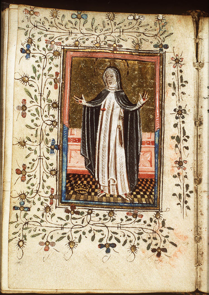 St. Catherine of Siena showing her stigmata, a crown at her feet