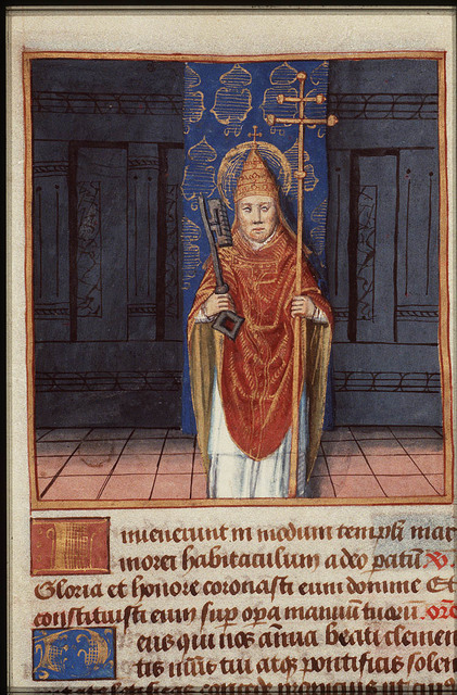 St. Clement I, Bishop of Rome, holding a key and a cross-staff