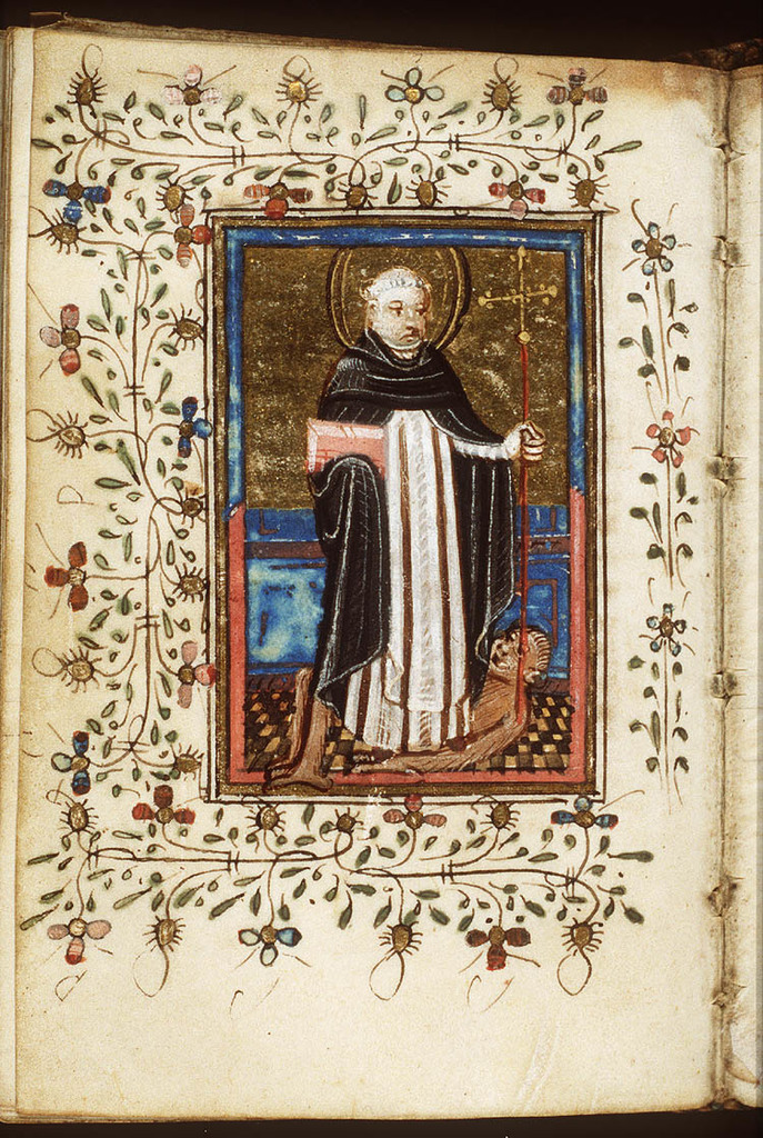 St. Dominic of Calerueja holding a book and a cross-staff, and trampling a devil