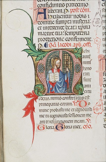 St. James the Great holding an open book and a staff