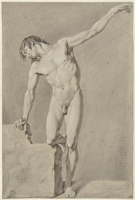 Staand mannelijk naakt, de linkerarm geheven