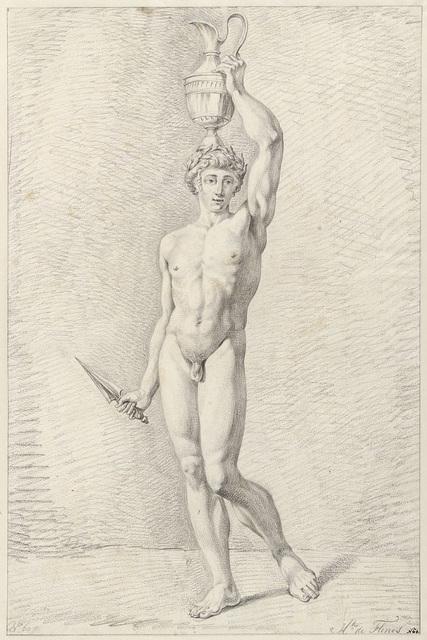 Staand mannelijk naakt met een vaas en een mes