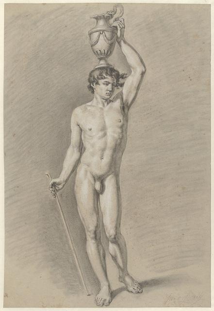Staand mannelijk naakt met een vaas op het hoofd