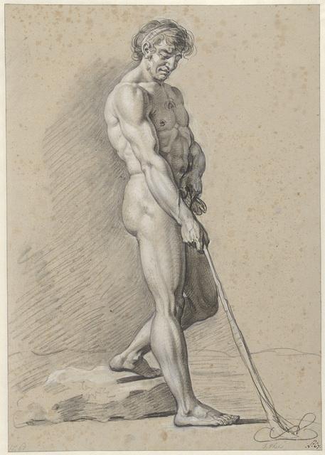 Staand mannelijk naakt met kolfstok